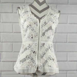 BKE Boutique M white lace zip front tank sheer